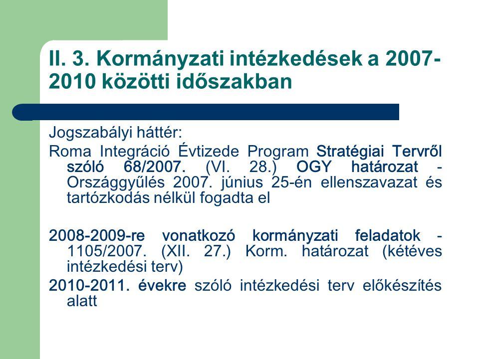 II. 3. Kormányzati intézkedések a 2007- 2010 közötti időszakban Jogszabályi háttér: Roma Integráció Évtizede Program Stratégiai Tervről szóló 68/2007.