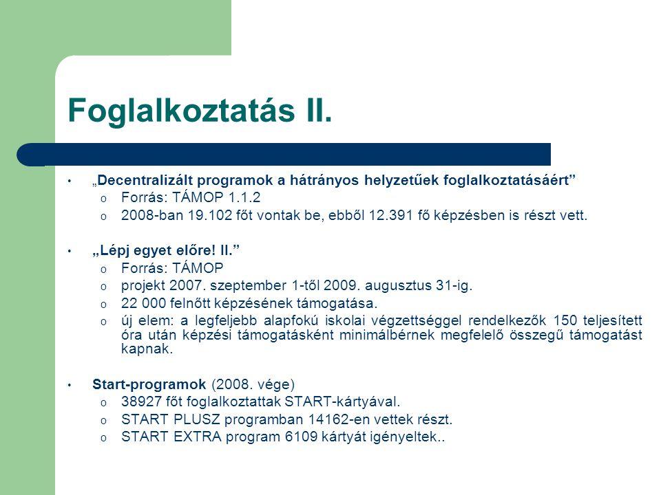 """Foglalkoztatás II. • """"Decentralizált programok a hátrányos helyzetűek foglalkoztatásáért"""" o Forrás: TÁMOP 1.1.2 o 2008-ban 19.102 főt vontak be, ebből"""