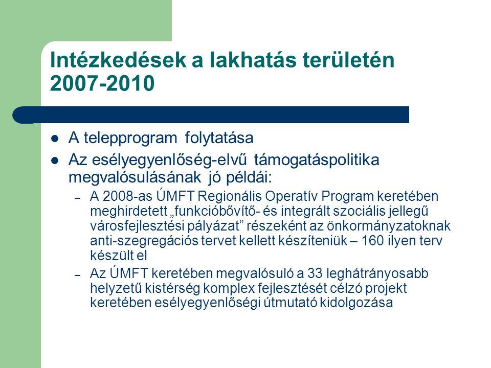 """Intézkedések a lakhatás területén 2007-2010  A telepprogram folytatása  Az esélyegyenlőség-elvű támogatáspolitika megvalósulásának jó példái: – A 2008-as ÚMFT Regionális Operatív Program keretében meghirdetett """"funkcióbővítő- és integrált szociális jellegű városfejlesztési pályázat részeként az önkormányzatoknak anti-szegregációs tervet kellett készíteniük – 160 ilyen terv készült el – Az ÚMFT keretében megvalósuló a 33 leghátrányosabb helyzetű kistérség komplex fejlesztését célzó projekt keretében esélyegyenlőségi útmutató kidolgozása"""