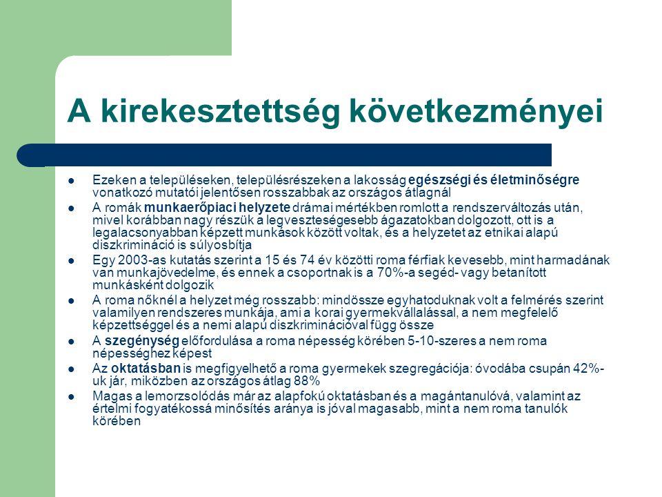 A Roma Integráció Évtizede Program  A Roma Integráció Évtizede Program (RIÉP) – 9 közép- és kelet-európai ország (Bulgária, Horvátország, Csehország, Magyarország, Macedónia, Montenegrói Köztársaság, Románia, Szerb Köztársaság, Szlovákia) összefogásával létrejött nemzetközi együttműködés – Négy prioritási terület (a kitűzött célok és mutatók meghatározása)  Oktatás, foglalkoztatás, egészségügy és lakhatás – A résztvevő országok kötelezettséget vállaltak arra, hogy 2005-2015 közötti időszakra tervezett, a romák társadalmi integrációját elősegítő intézkedésekről átfogó tervet készítenek – Magyar elnökség: 2007.