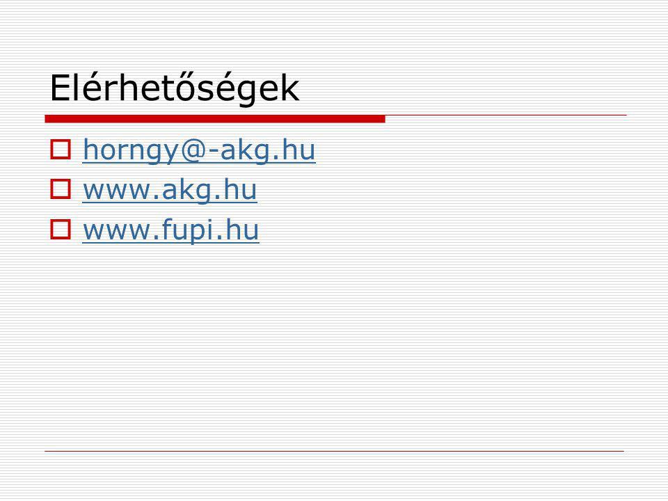 Elérhetőségek  horngy@-akg.hu horngy@-akg.hu  www.akg.hu www.akg.hu  www.fupi.hu www.fupi.hu