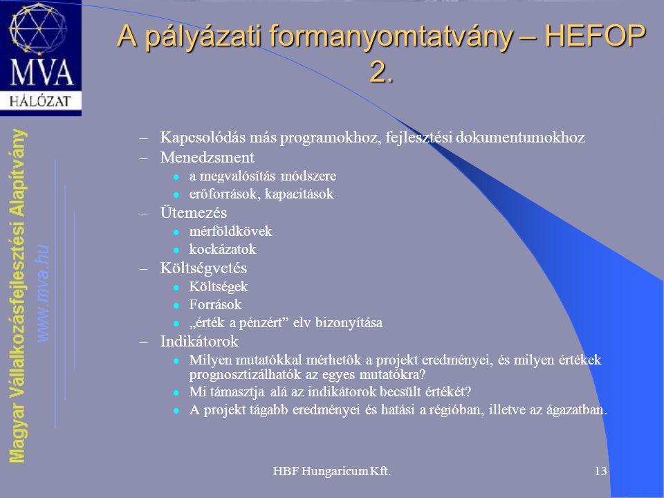 HBF Hungaricum Kft.13 A pályázati formanyomtatvány – HEFOP 2. – Kapcsolódás más programokhoz, fejlesztési dokumentumokhoz – Menedzsment  a megvalósít