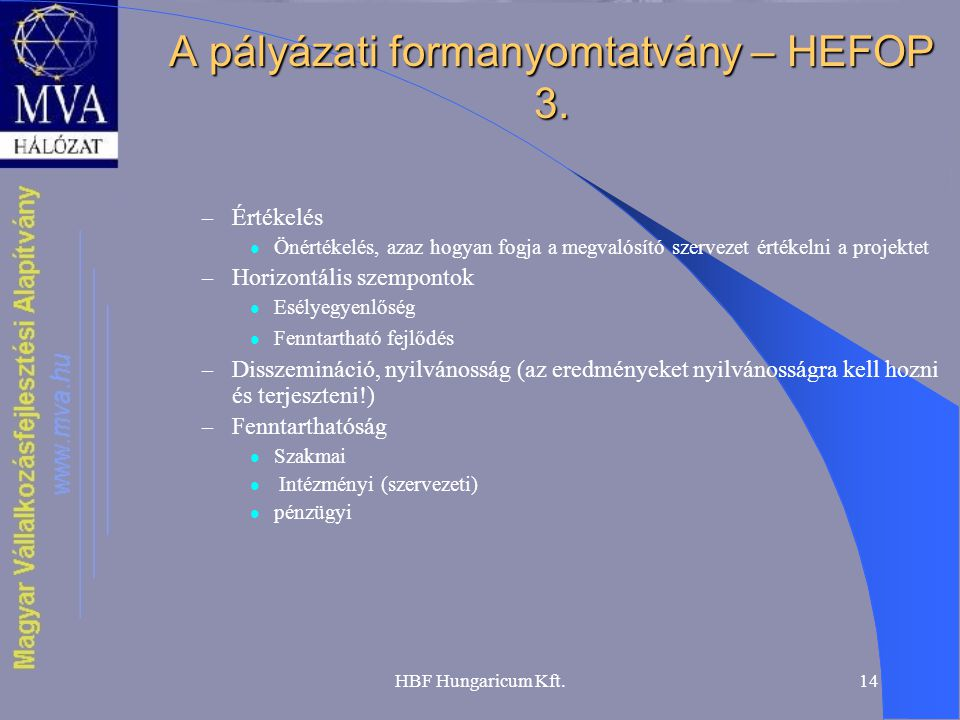 HBF Hungaricum Kft.14 A pályázati formanyomtatvány – HEFOP 3. – Értékelés  Önértékelés, azaz hogyan fogja a megvalósító szervezet értékelni a projekt