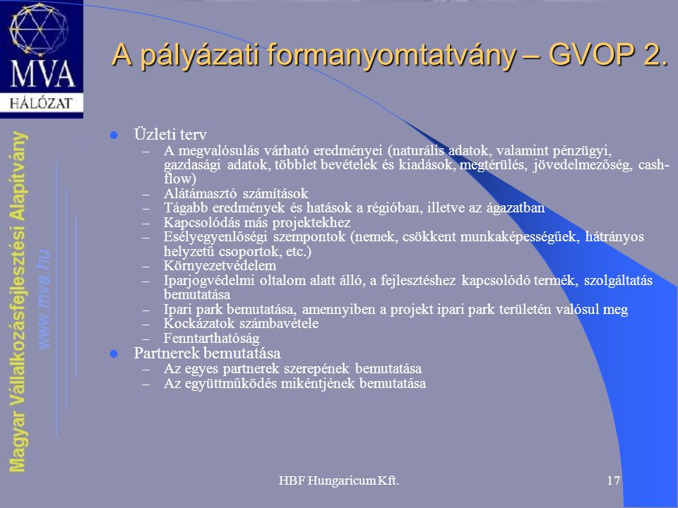 HBF Hungaricum Kft.17 A pályázati formanyomtatvány – GVOP 2.  Üzleti terv – A megvalósulás várható eredményei (naturális adatok, valamint pénzügyi, g