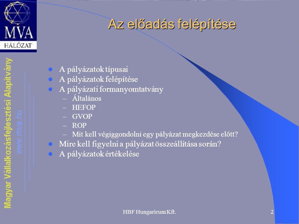 HBF Hungaricum Kft.2 Az előadás felépítése  A pályázatok típusai  A pályázatok felépítése  A pályázati formanyomtatvány – Általános – HEFOP – GVOP – ROP – Mit kell végiggondolni egy pályázat megkezdése előtt.