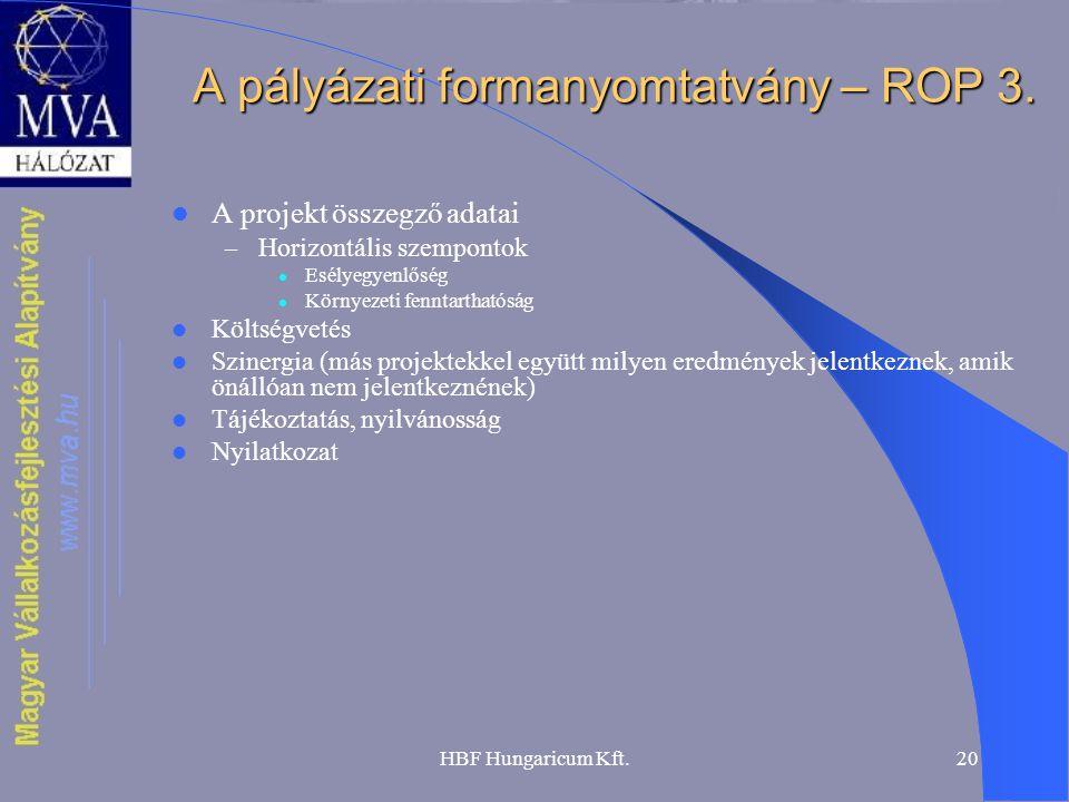 HBF Hungaricum Kft.20 A pályázati formanyomtatvány – ROP 3.  A projekt összegző adatai – Horizontális szempontok  Esélyegyenlőség  Környezeti fennt