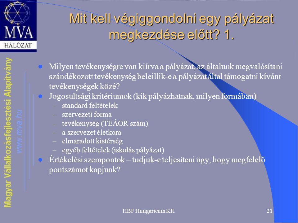HBF Hungaricum Kft.21 Mit kell végiggondolni egy pályázat megkezdése előtt? 1.  Milyen tevékenységre van kiírva a pályázat, az általunk megvalósítani