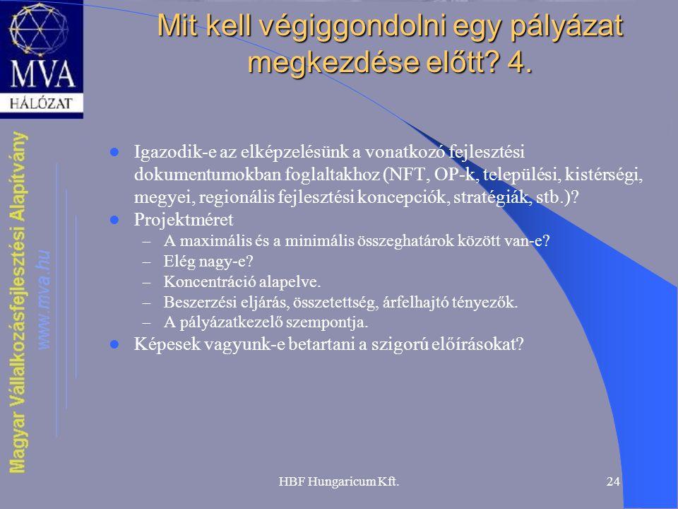 HBF Hungaricum Kft.24 Mit kell végiggondolni egy pályázat megkezdése előtt? 4.  Igazodik-e az elképzelésünk a vonatkozó fejlesztési dokumentumokban f