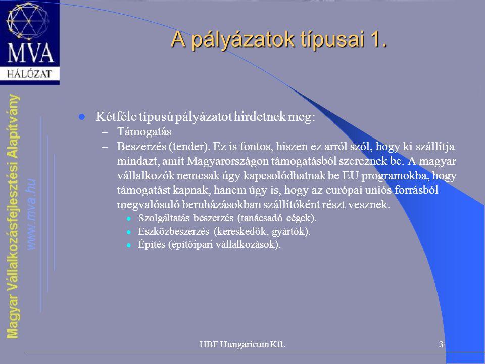 HBF Hungaricum Kft.3 A pályázatok típusai 1.  Kétféle típusú pályázatot hirdetnek meg: – Támogatás – Beszerzés (tender). Ez is fontos, hiszen ez arró