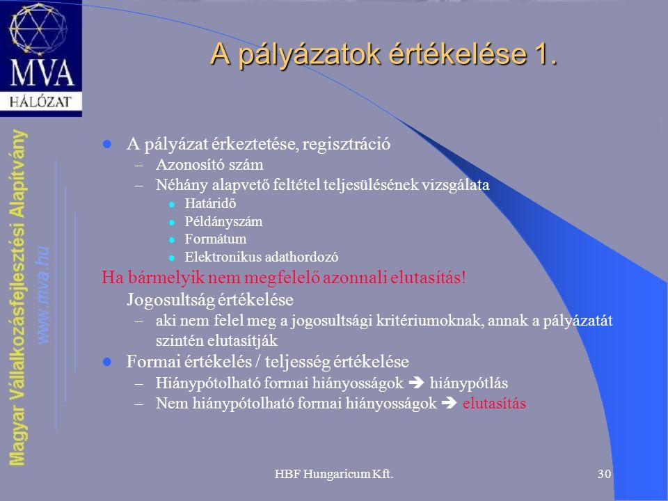 HBF Hungaricum Kft.30 A pályázatok értékelése 1.  A pályázat érkeztetése, regisztráció – Azonosító szám – Néhány alapvető feltétel teljesülésének viz