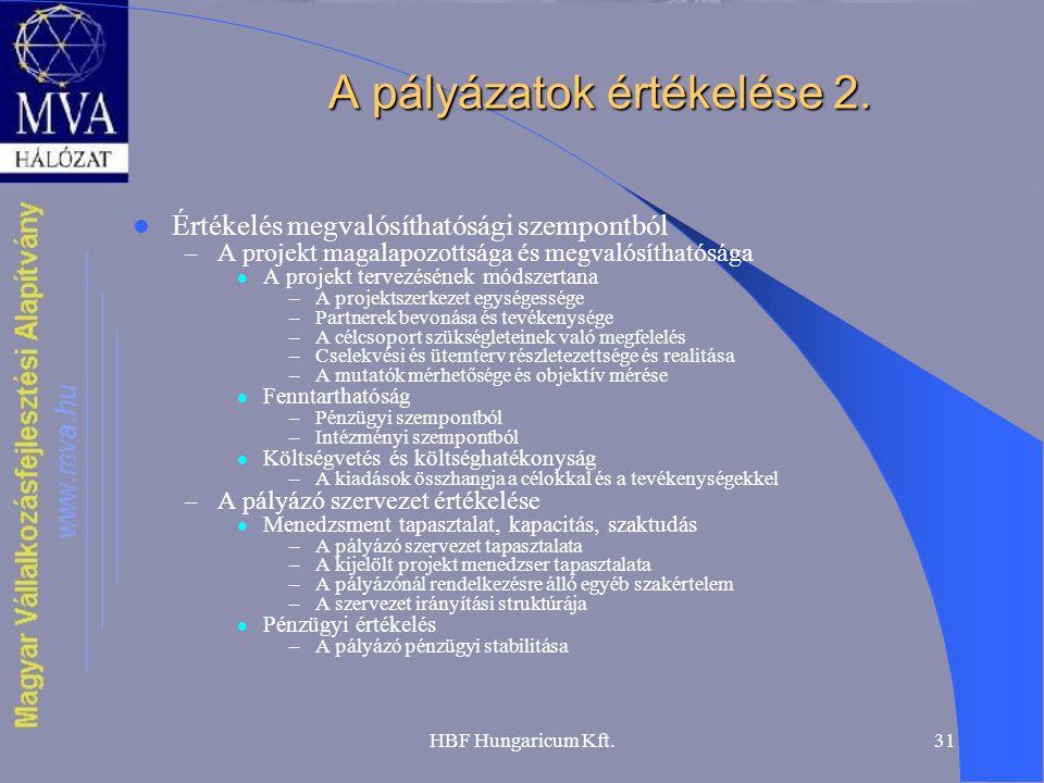 HBF Hungaricum Kft.31 A pályázatok értékelése 2.  Értékelés megvalósíthatósági szempontból – A projekt magalapozottsága és megvalósíthatósága  A pro