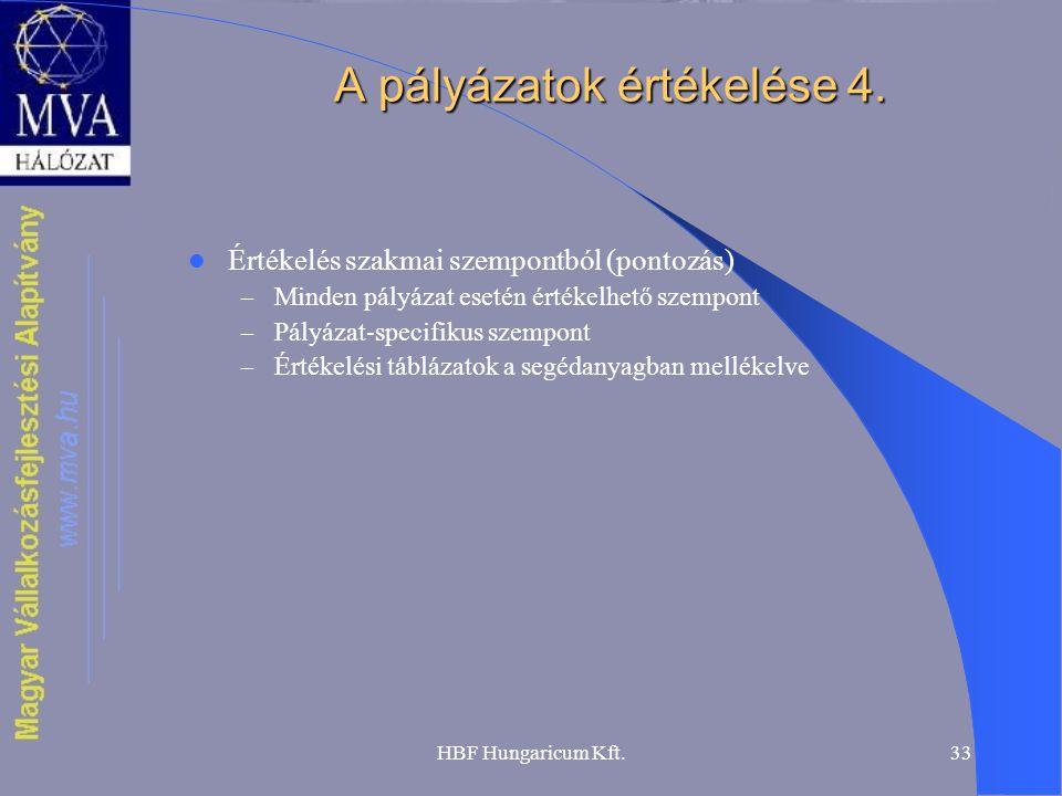 HBF Hungaricum Kft.33 A pályázatok értékelése 4.  Értékelés szakmai szempontból (pontozás) – Minden pályázat esetén értékelhető szempont – Pályázat-s