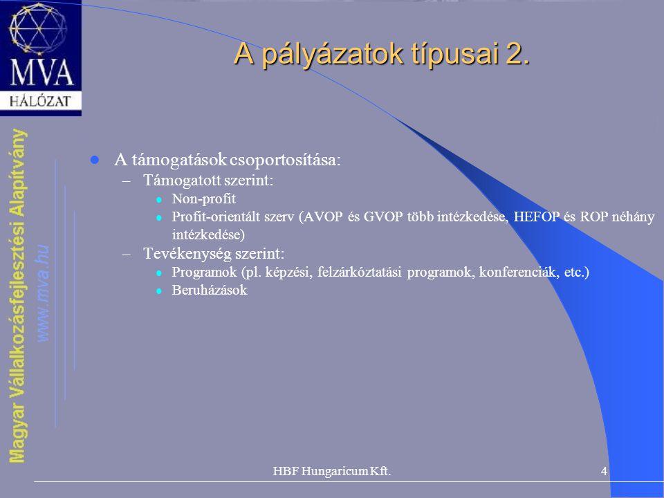 HBF Hungaricum Kft.4 A pályázatok típusai 2.  A támogatások csoportosítása: – Támogatott szerint:  Non-profit  Profit-orientált szerv (AVOP és GVOP