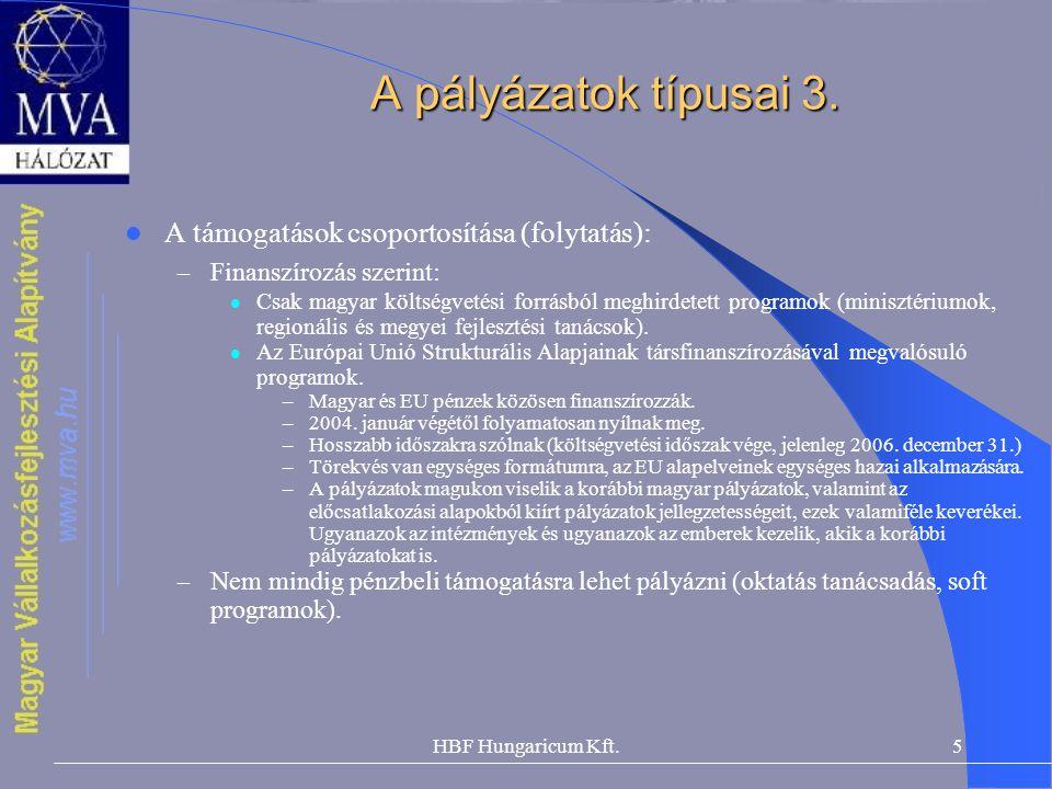 HBF Hungaricum Kft.5 A pályázatok típusai 3.  A támogatások csoportosítása (folytatás): – Finanszírozás szerint:  Csak magyar költségvetési forrásbó