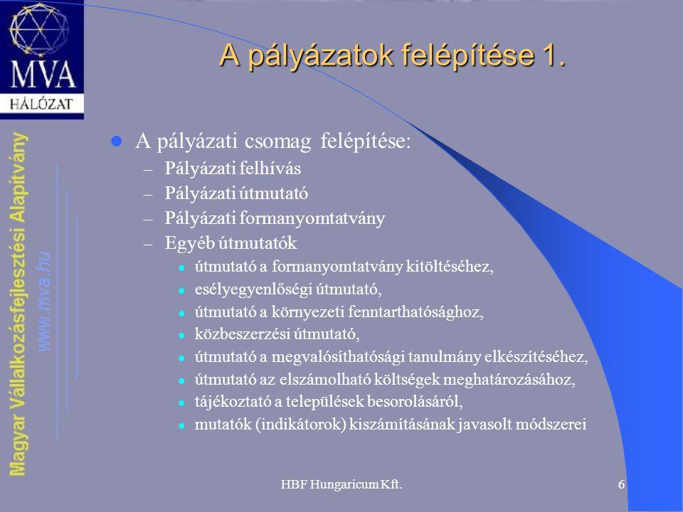 HBF Hungaricum Kft.6 A pályázatok felépítése 1.  A pályázati csomag felépítése: – Pályázati felhívás – Pályázati útmutató – Pályázati formanyomtatván