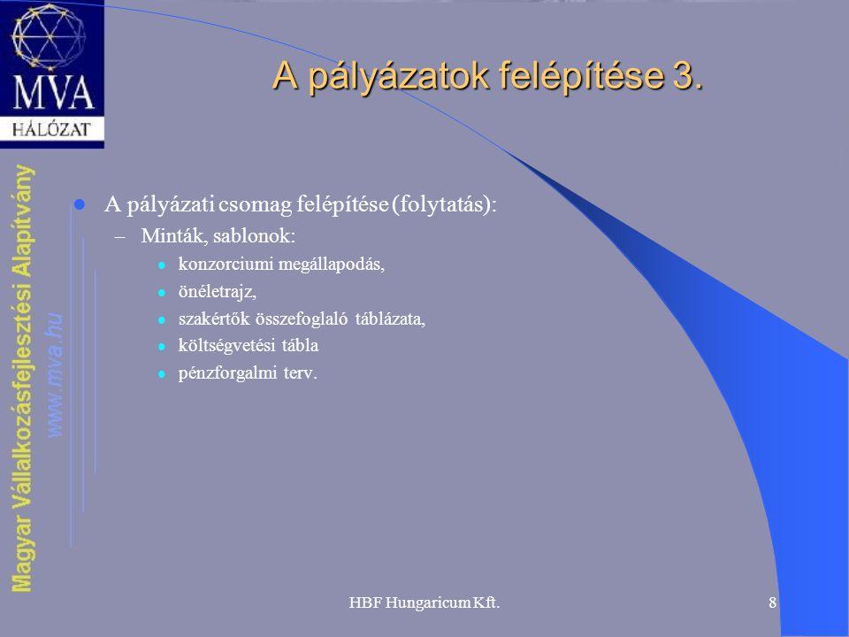 HBF Hungaricum Kft.8 A pályázatok felépítése 3.  A pályázati csomag felépítése (folytatás): – Minták, sablonok:  konzorciumi megállapodás,  önéletr