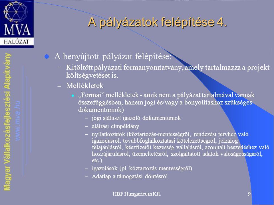 HBF Hungaricum Kft.9 A pályázatok felépítése 4.  A benyújtott pályázat felépítése: – Kitöltött pályázati formanyomtatvány, amely tartalmazza a projek