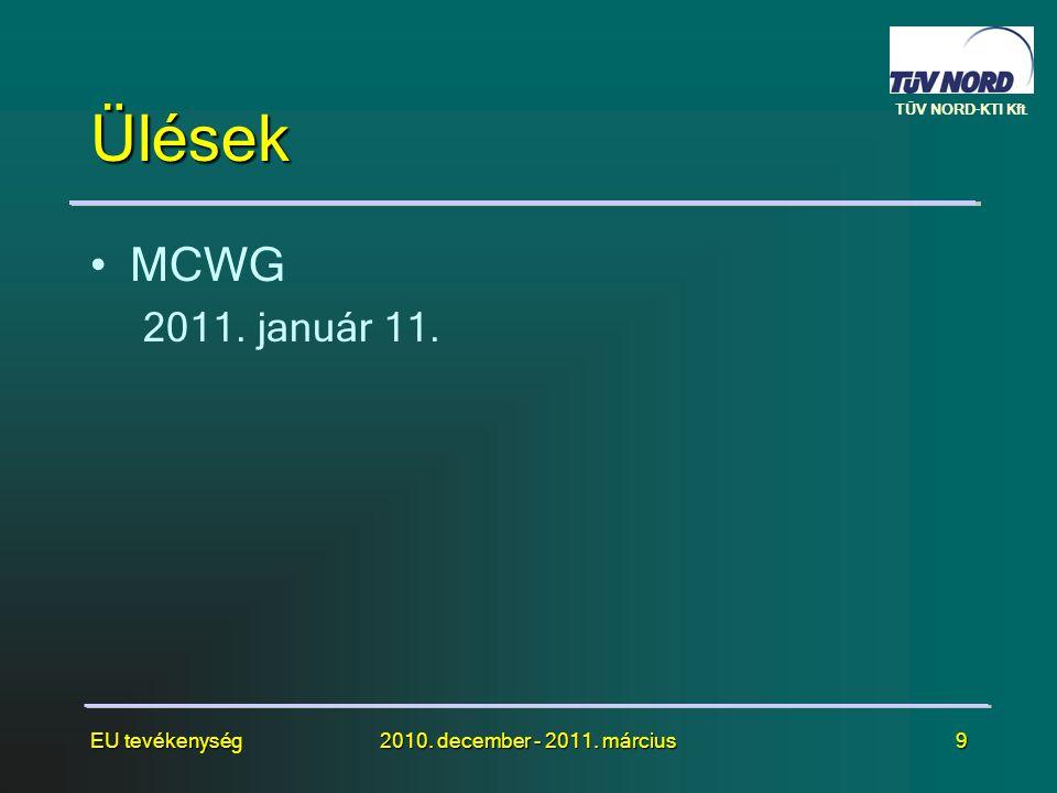 TÜV NORD-KTI Kft. EU tevékenység2010. december - 2011. március9 Ülések •MCWG 2011. január 11.