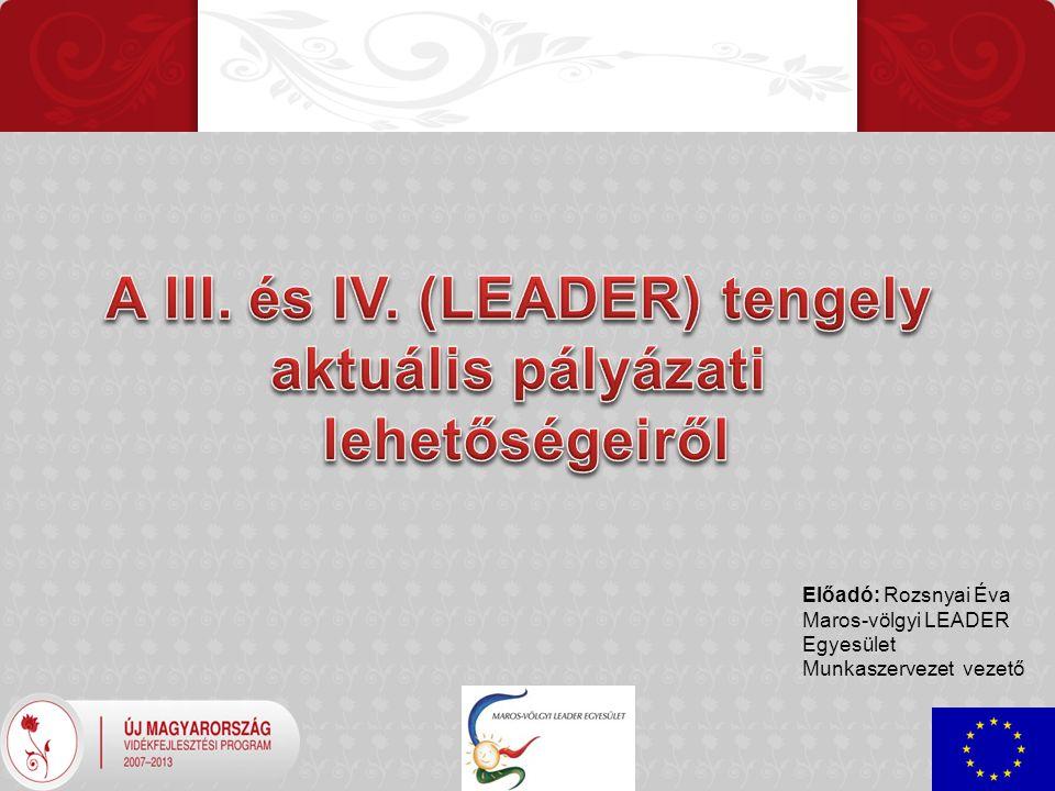 Előadó: Rozsnyai Éva Maros-völgyi LEADER Egyesület Munkaszervezet vezető