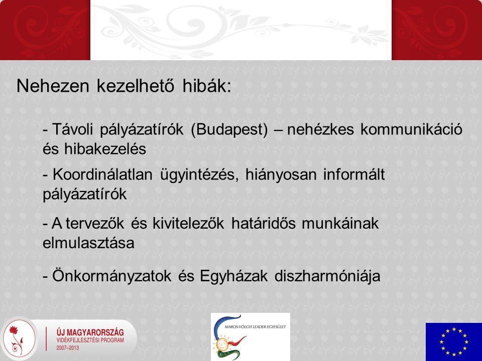 Nehezen kezelhető hibák: - Távoli pályázatírók (Budapest) – nehézkes kommunikáció és hibakezelés - Koordinálatlan ügyintézés, hiányosan informált pályázatírók - A tervezők és kivitelezők határidős munkáinak elmulasztása - Önkormányzatok és Egyházak diszharmóniája