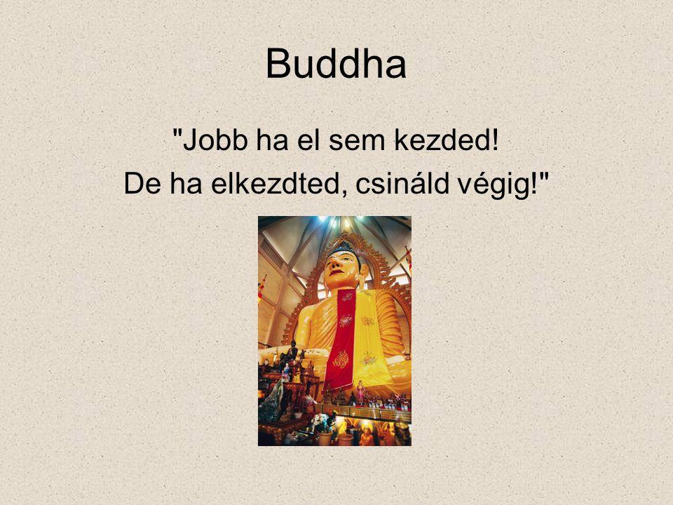 Buddha Jobb ha el sem kezded! De ha elkezdted, csináld végig!