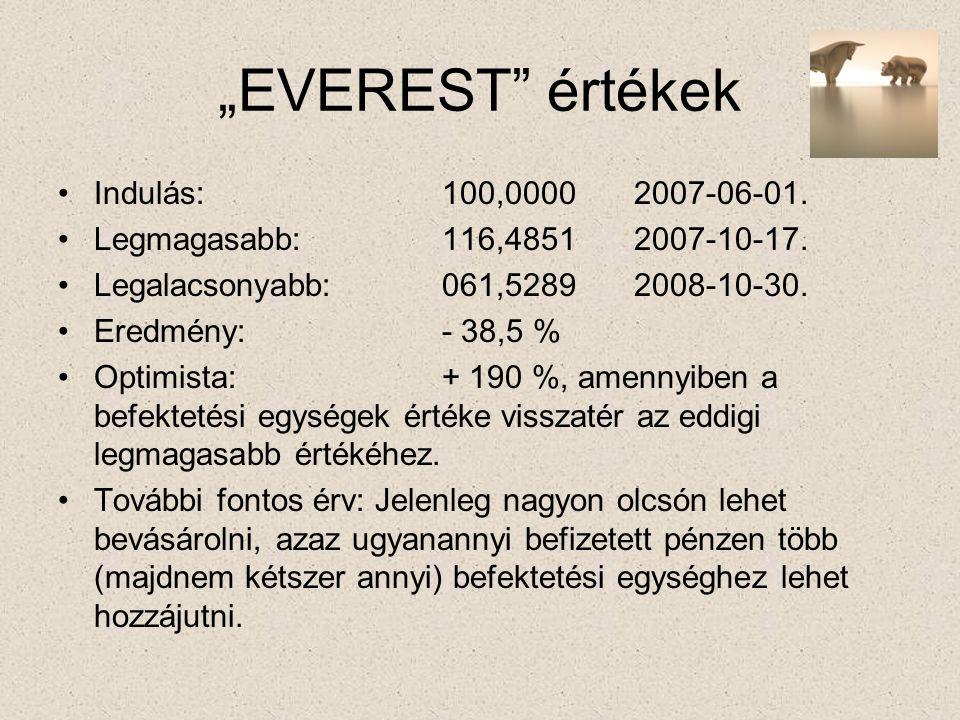 """""""EVEREST értékek •Indulás:100,00002007-06-01. •Legmagasabb:116,4851 2007-10-17."""