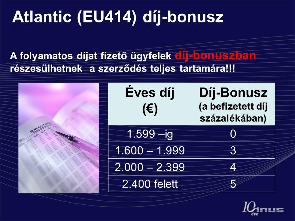 Atlantic (EU414) díj-bonusz A folyamatos díjat fizető ügyfelek díj-bonuszban részesülhetnek a szerződés teljes tartamára!!.