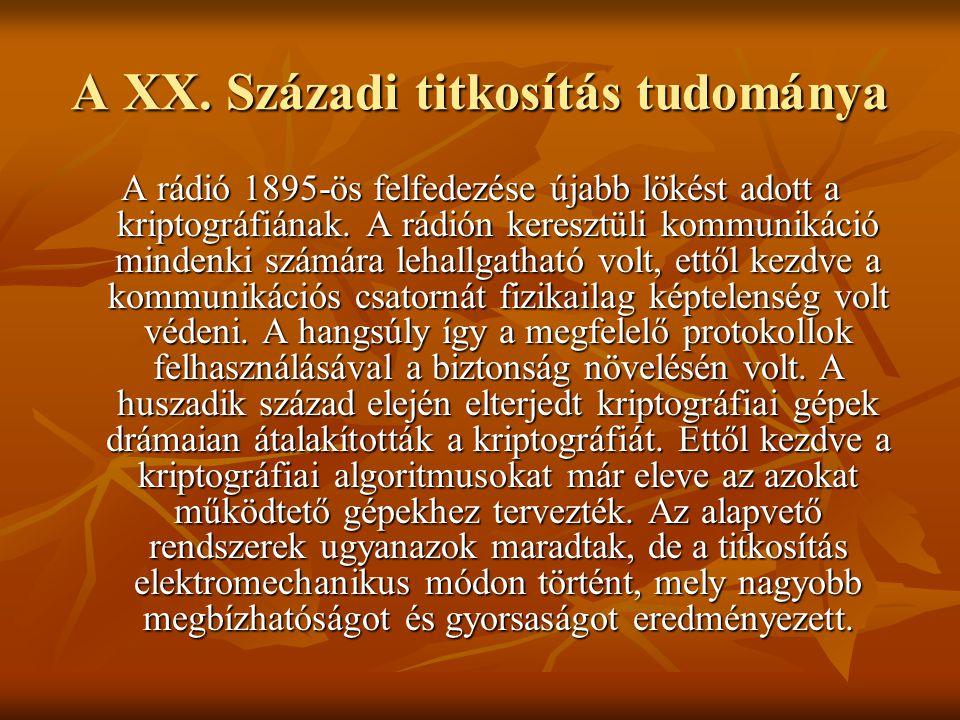 A XX. Századi titkosítás tudománya A rádió 1895-ös felfedezése újabb lökést adott a kriptográfiának. A rádión keresztüli kommunikáció mindenki számára