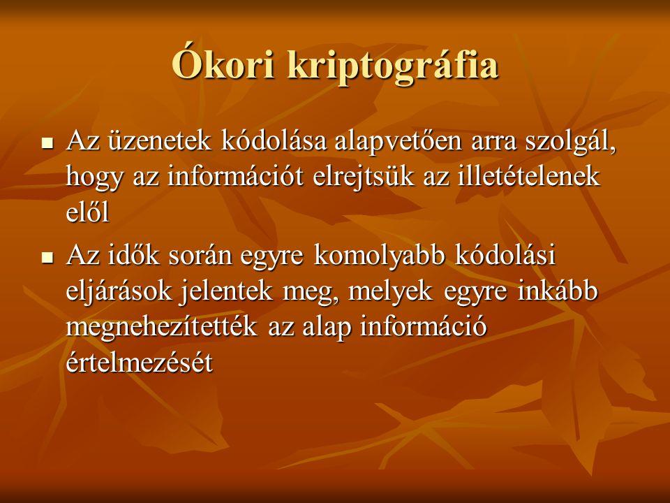 Ókori kriptográfia  Az üzenetek kódolása alapvetően arra szolgál, hogy az információt elrejtsük az illetételenek elől  Az idők során egyre komolyabb