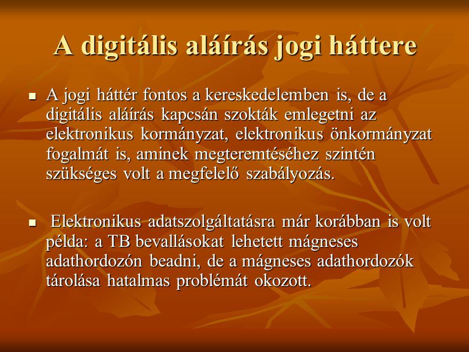 A digitális aláírás jogi háttere  A jogi háttér fontos a kereskedelemben is, de a digitális aláírás kapcsán szokták emlegetni az elektronikus kormány