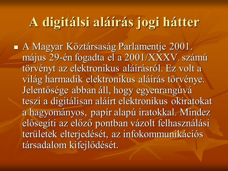 A digitálsi aláírás jogi hátter  A Magyar Köztársaság Parlamentje 2001. május 29-én fogadta el a 2001/XXXV. számú törvényt az elektronikus aláírásról