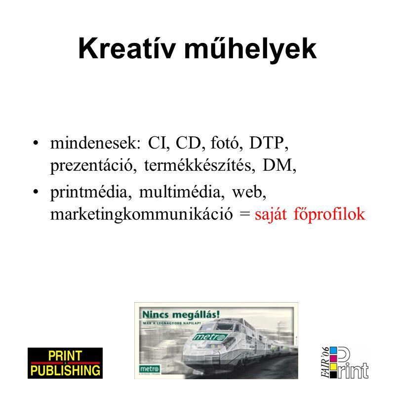 Kreatív műhelyek •mindenesek: CI, CD, fotó, DTP, prezentáció, termékkészítés, DM, •printmédia, multimédia, web, marketingkommunikáció = saját főprofilok