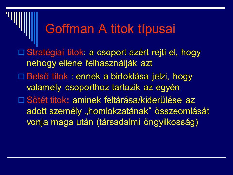Goffman A titok típusai  Stratégiai titok: a csoport azért rejti el, hogy nehogy ellene felhasználják azt  Belső titok : ennek a birtoklása jelzi, h