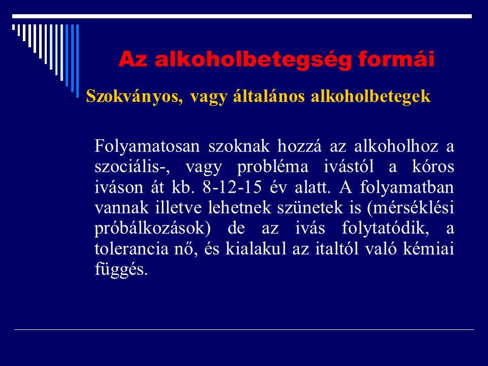 Az alkoholbetegség formái Szokványos, vagy általános alkoholbetegek Folyamatosan szoknak hozzá az alkoholhoz a szociális-, vagy probléma ivástól a kór