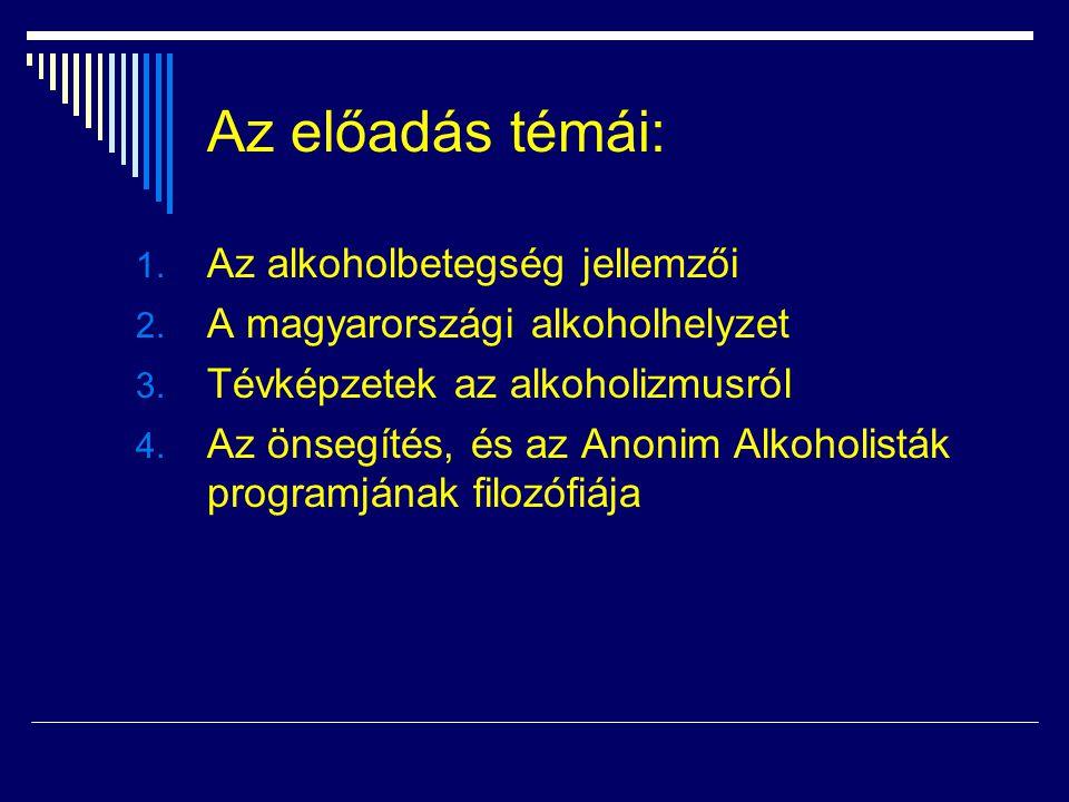 Az előadás témái: 1. Az alkoholbetegség jellemzői 2. A magyarországi alkoholhelyzet 3. Tévképzetek az alkoholizmusról 4. Az önsegítés, és az Anonim Al