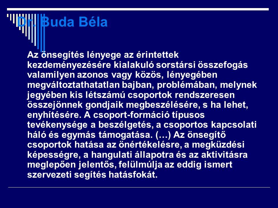 Dr. Buda Béla Az önsegítés lényege az érintettek kezdeményezésére kialakuló sorstársi összefogás valamilyen azonos vagy közös, lényegében megváltoztat