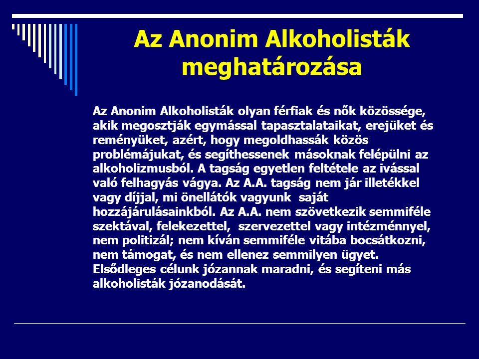 Az Anonim Alkoholisták meghatározása Az Anonim Alkoholisták olyan férfiak és nők közössége, akik megosztják egymással tapasztalataikat, erejüket és re