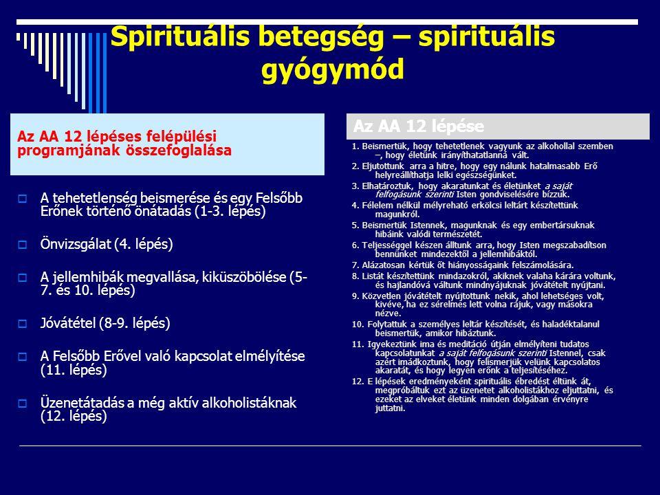 Spirituális betegség – spirituális gyógymód  A tehetetlenség beismerése és egy Felsőbb Erőnek történő önátadás (1-3. lépés)  Önvizsgálat (4. lépés)