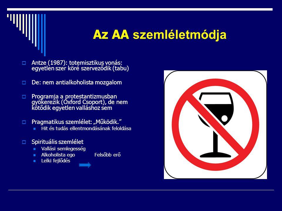 Az AA szemléletmódja  Antze (1987): totemisztikus vonás: egyetlen szer köré szerveződik (tabu)  De: nem antialkoholista mozgalom  Programja a prote