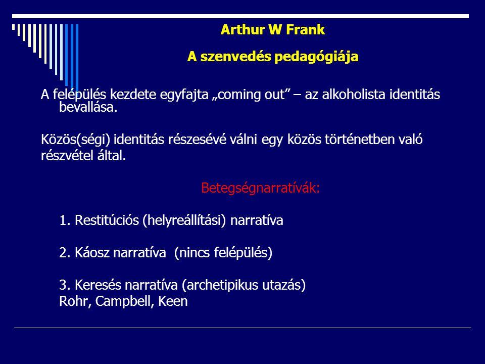 """Arthur W Frank A szenvedés pedagógiája A felépülés kezdete egyfajta """"coming out"""" – az alkoholista identitás bevallása. Közös(ségi) identitás részesévé"""
