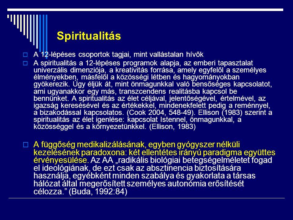 Spiritualitás  A 12-lépéses csoportok tagjai, mint vallástalan hívők  A spiritualitás a 12-lépéses programok alapja, az emberi tapasztalat univerzál