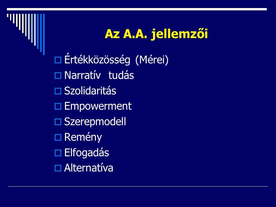 Az A.A. jellemzői  Értékközösség (Mérei)  Narratív tudás  Szolidaritás  Empowerment  Szerepmodell  Remény  Elfogadás  Alternatíva