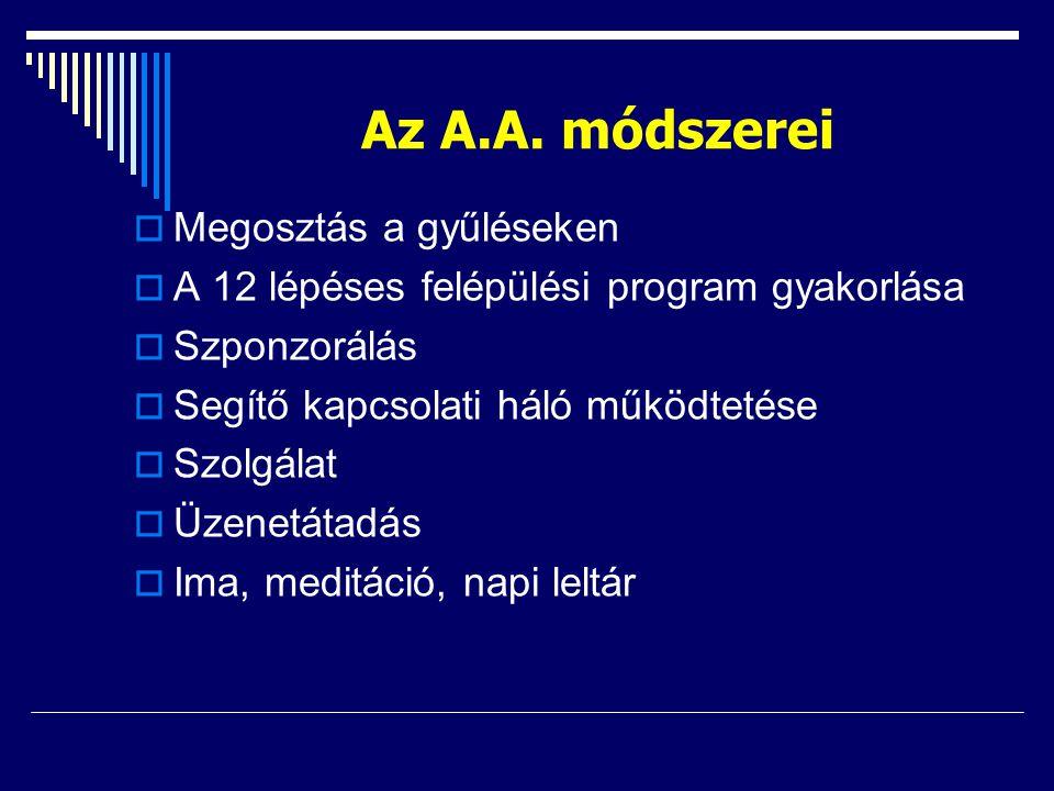 Az A.A. módszerei  Megosztás a gyűléseken  A 12 lépéses felépülési program gyakorlása  Szponzorálás  Segítő kapcsolati háló működtetése  Szolgála