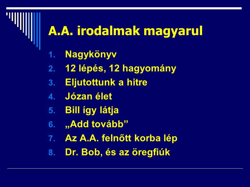 """A.A. irodalmak magyarul 1. Nagykönyv 2. 12 lépés, 12 hagyomány 3. Eljutottunk a hitre 4. Józan élet 5. Bill így látja 6. """"Add tovább"""" 7. Az A.A. felnő"""