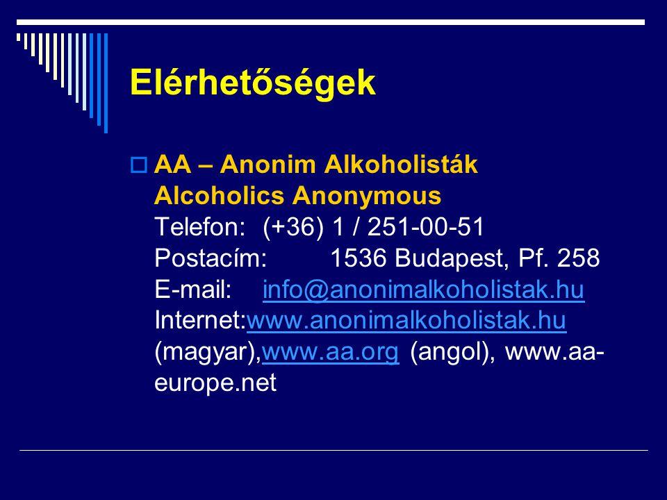 Elérhetőségek  AA – Anonim Alkoholisták Alcoholics Anonymous Telefon: (+36) 1 / 251-00-51 Postacím:1536 Budapest, Pf. 258 E-mail: info@anonimalkoholi