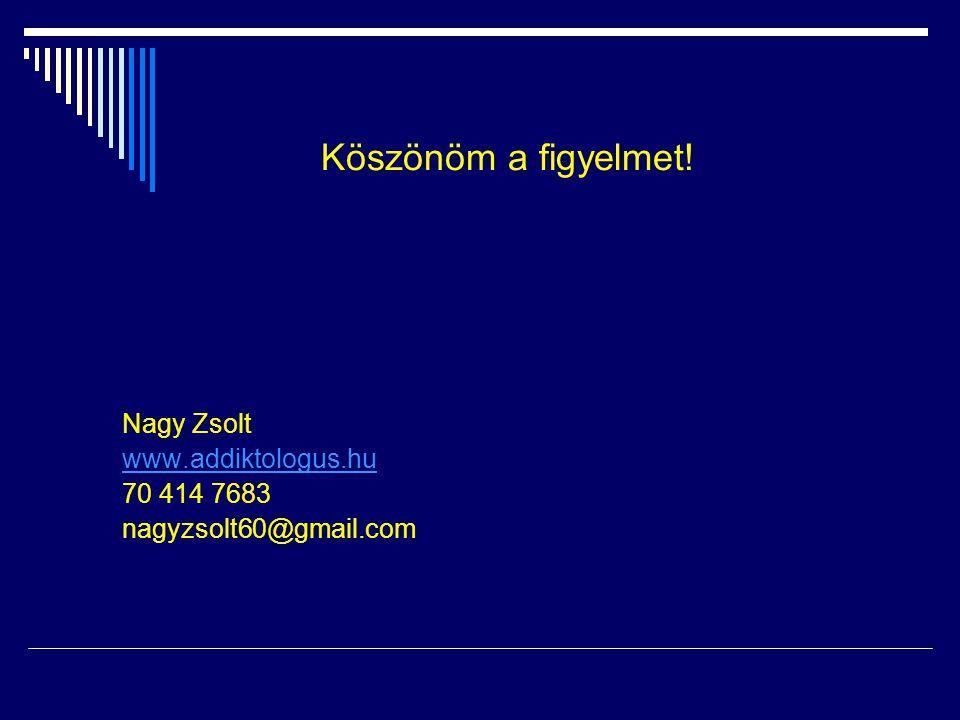 Köszönöm a figyelmet! Nagy Zsolt www.addiktologus.hu 70 414 7683 nagyzsolt60@gmail.com
