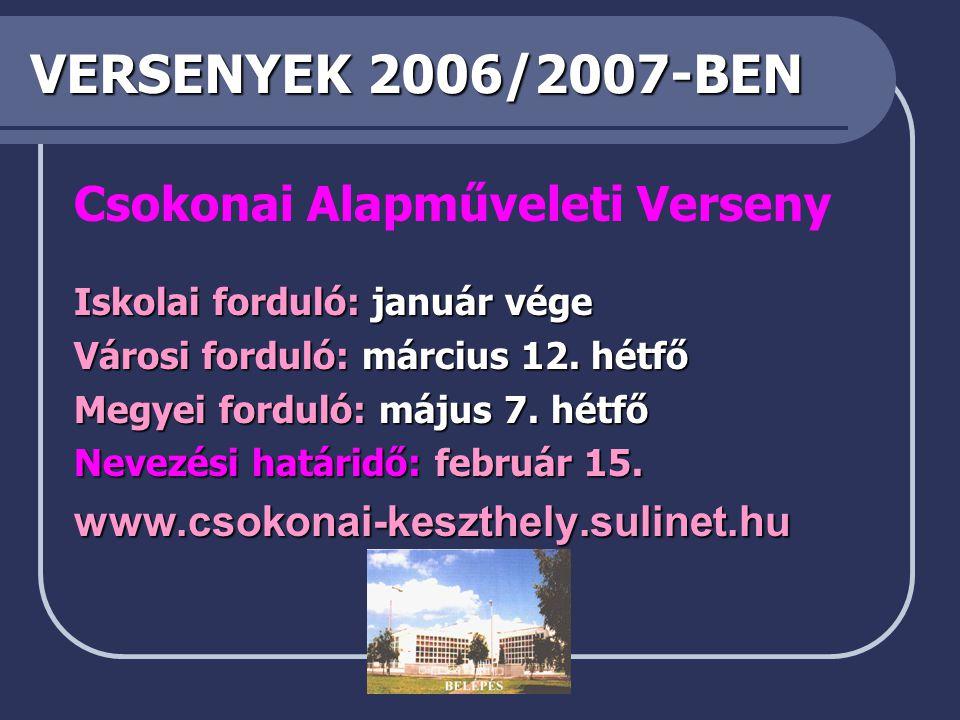 VERSENYEK 2006/2007-BEN Csokonai Alapműveleti Verseny Iskolai forduló: január vége Városi forduló: március 12.