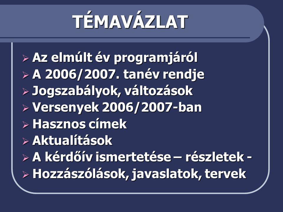 TÉMAVÁZLAT  Az elmúlt év programjáról  A 2006/2007.