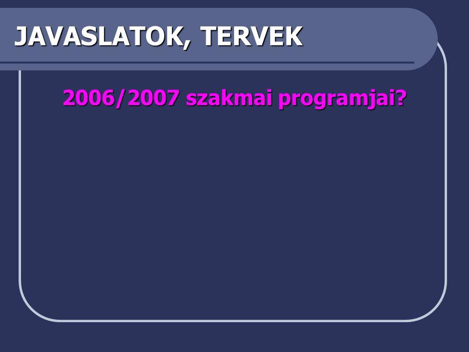 JAVASLATOK, TERVEK 2006/2007 szakmai programjai?