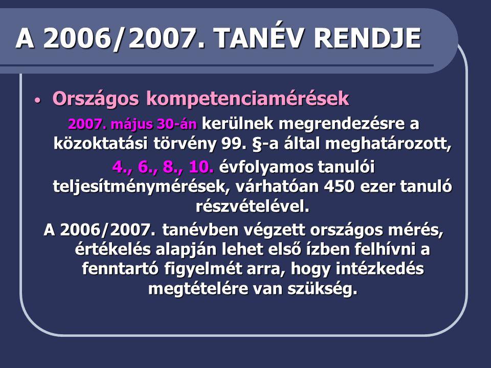 A 2006/2007.TANÉV RENDJE • Országos kompetenciamérések 2007.
